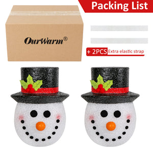 OurWarm 2 Pack Snowman Christmas Porch Light Covers 12 Inch, Holiday Light Covers for Porch Lights, Garage Lights, Large Light Fixtures, Christmas Outdoor Decorations