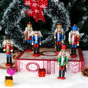 OurWarm 6pcs Glittery Nutcrackers Ornaments, Nutcracker Figures with Opening Mouths Christmas Decorations for Xmas Tree, Table Decor