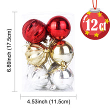 Load image into Gallery viewer, OurWarm 12PCS Multiple Christmas Ball Ornaments 6cm Plastic Baubles Xmas Tree Decor Hanging Ball For Home Christmas Decorations
