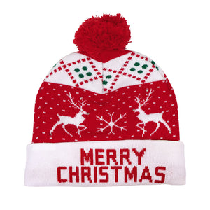 OurWarm LED Christmas Hat, Light Up Christmas Hat Unisex Blue Knitted Beanie Holiday Hat with Snowman Printing for Party