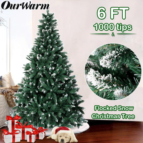 OurWarm 6FT Flocked Snow Christmas Tree, Artificial Christmas Pine Trees with Metal Stand for Festive Holiday Decor