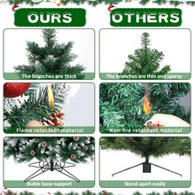 Load image into Gallery viewer, OurWarm 7FT Artificial Christmas Tree, Snow Flocked Christmas Tree with Pine Cones Xmas Pine Tree for Indoor Outdoor Holiday Decorations with Foldable Metal Stand, 1400 Branch Tips