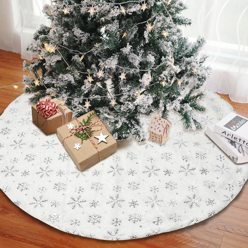 Aytai Christmas Tree Skirt - 48 inches Large White Luxury Faux Fur Tree Skirt Christmas Decorations Holiday Thick Plush Tree Xmas Ornaments (White/Sliver)