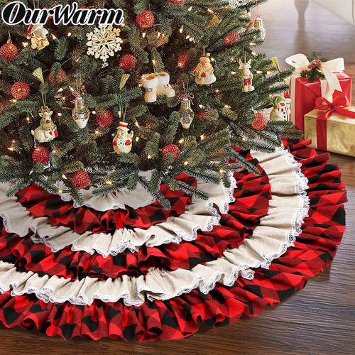 OurWarm Buffalo Plaid Christmas Tree Skirt 48 inches, 6 Layers Ruffled Red and Black Buffalo Check Christmas Tree Skirt Burlap Xmas Tree Skirt for Holiday Christmas Decorations