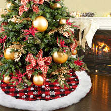 Load image into Gallery viewer, OurWarm Christmas Tree Skirt 48 Inch Luxury Buffalo Plaid Tree Skirt with Plush Faux Fur Trim for Rustic Christmas Holiday Decorations, White Snowflake Tree Skirt