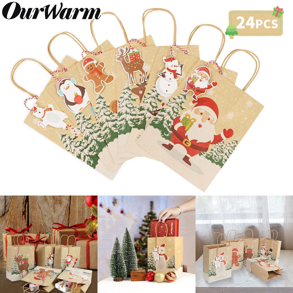 OurWarm 24pcs Christmas Paper Gift Bags Assorted Kraft Holiday Paper Bags with Handles and Tags for Christmas Party Supplies Decor, 9