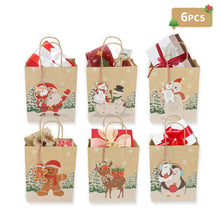 "Load image into Gallery viewer, OurWarm 24pcs Christmas Paper Gift Bags Assorted Kraft Holiday Paper Bags with Handles and Tags for Christmas Party Supplies Decor, 9"" x 7"" x 4"" Christmas Goody Treat Bags"