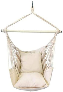 Aytai Hanging Rope Hammock Chair Swing Seat for Any Indoor or Outdoor Spaces with 2 Cushions and Big Side Pocket for Comfort with Complete Hardware Set for Durability