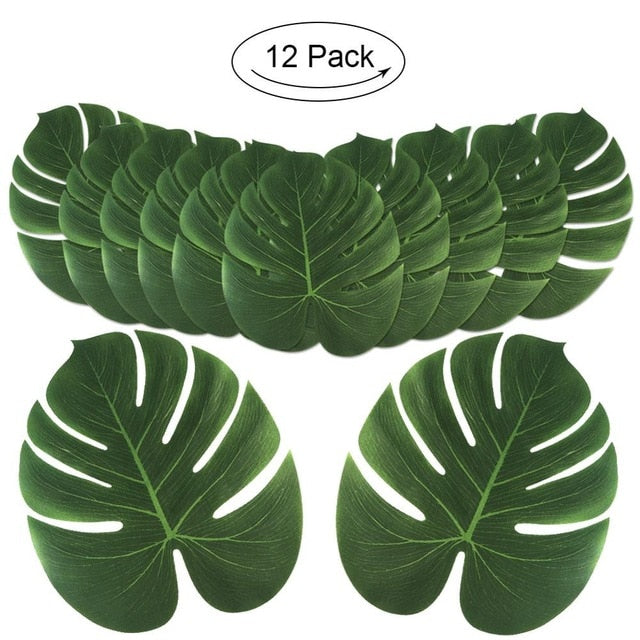 Nordic Artificial Fake Plant Palm Leaves Table Mat Tropical Hawaii Luau Summer Party Decoration