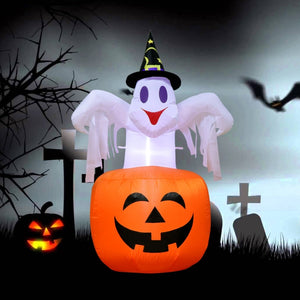 Outdoor Inflatable Horror Pumpkin Night LED Light Ghost Stand Halloween Party Decorations 142x87cm
