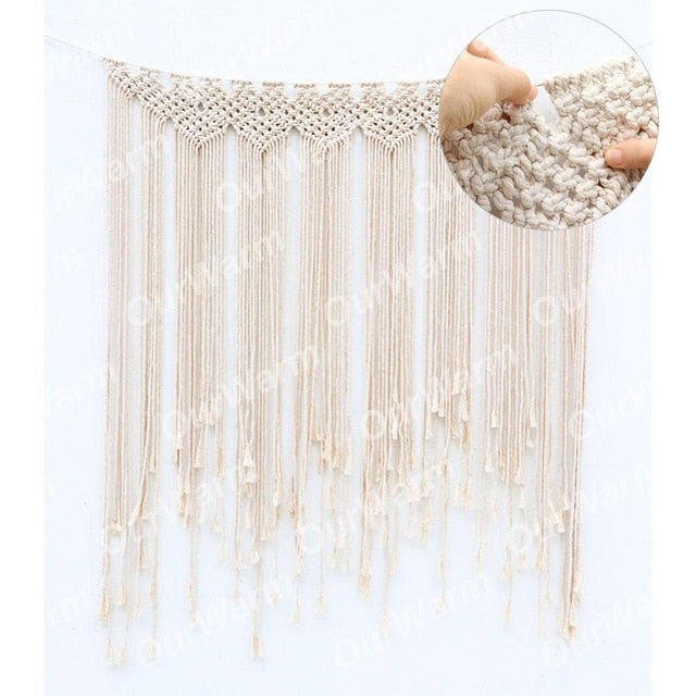 Macrame Curtain Tapestry Cotton Handmade Wall Hanging Backdrop DIY Rustic Wedding Party Decoration