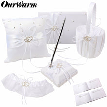 Load image into Gallery viewer, White Cushion Ring Pillow Flower Basket Guest Book Pen Holder Baptism Communion Wedding Party Favors