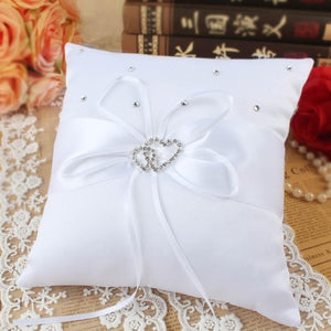 White Cushion Ring Pillow Flower Basket Guest Book Pen Holder Baptism Communion Wedding Party Favors