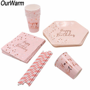 Pink Disposable Tableware Set Paper Disposable Cups Plate Napkin Gifts Birthday Party Favors Decoration