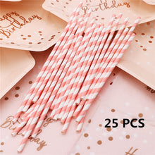 Load image into Gallery viewer, Pink Disposable Tableware Set Paper Disposable Cups Plate Napkin Gifts Birthday Party Favors Decoration