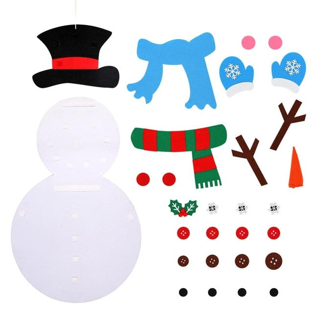 DIY Felt Snowman Christmas Gifts for Kids Wall Hanging with Sticker Christmas Decorations