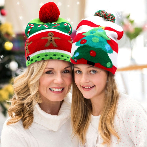 OurWarm Christmas Hat Cap Knit Led Light Up Beanie Hat Merry Christmas Gifts Party Decoration Supplies