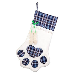 Christmas Stocking Dog Paw Plaid Candy Gift Bag for Kids Bag Gifts Christmas Party Decoration