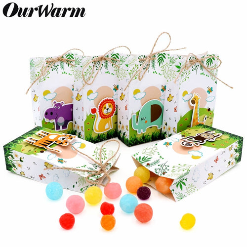 12Pcs Animals Party Paper Candy Gift Box Dessert Bag Kids Jungle Party Favor Birthday Decoration