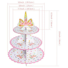 Load image into Gallery viewer, Birthday Unicorn Party Cup Cake Stand Topper Photo Backdrop Tablecloth Kids Baby Shower Decoration