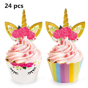 Birthday Unicorn Party Cup Cake Stand Topper Photo Backdrop Tablecloth Kids Baby Shower Decoration