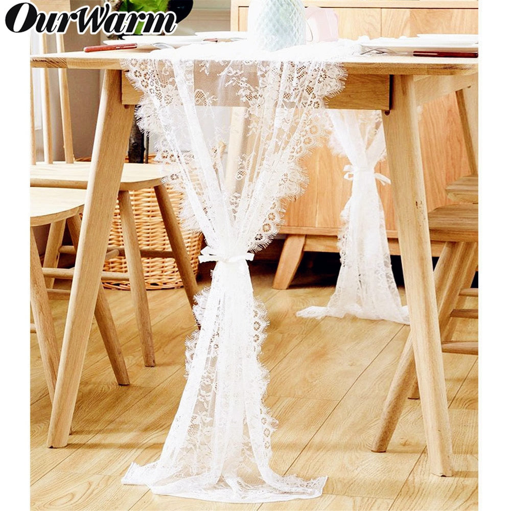 Wedding Floral Lace Table Runner Cloth Chair Sash Wedding Baptism Party Table Decoration 300cm