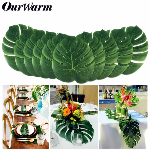 12pcs 35cm Hawaiian Luau Artificial Fake Palm Leaves Plant Carnival Wedding Summer Party Table Decoration