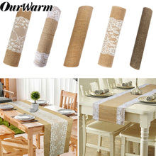 Load image into Gallery viewer, Natural Burlap Jute Lace Table Runner Cover Cloth Dinner Room Rustic Wedding Party Table Decoration