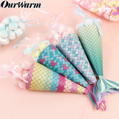 12PCS Mermaid Paper Candy Gift Box Hanging Gifts Kids Baby Birthday Mermaid Favors Party Decoration