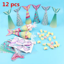 Load image into Gallery viewer, 12PCS Mermaid Paper Candy Gift Box Hanging Gifts Kids Baby Birthday Mermaid Favors Party Decoration