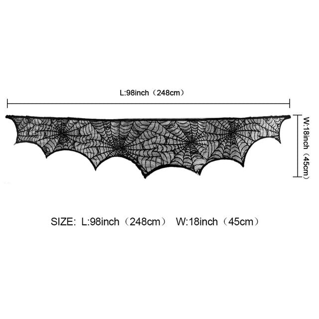Halloween Black Lace Spiderweb Props Fireplace Mantle Scarf Table Cloth Cover Horror Party Decoration