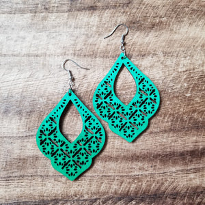 Color Wood Drop Earrings