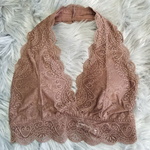 Scalloped Lace Halter Bralette