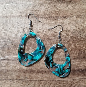 Turquoise Chip Resin Earrings