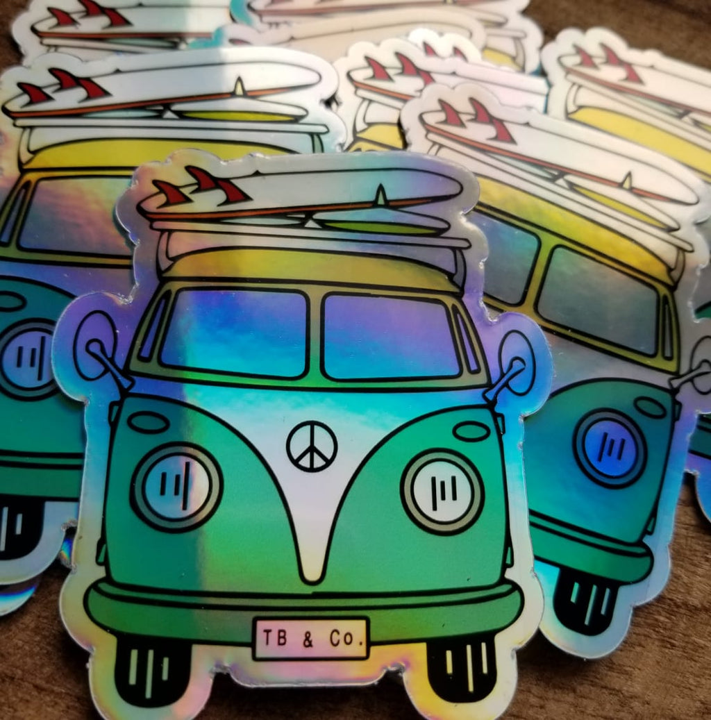 Holographic Peace Bus Sticker