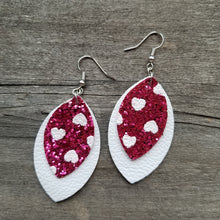 Load image into Gallery viewer, Chunky Glitter Heart Double Leaf Earrings