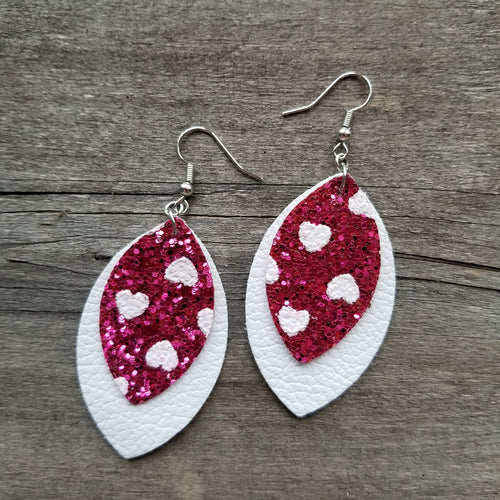 Chunky Glitter Heart Double Leaf Earrings