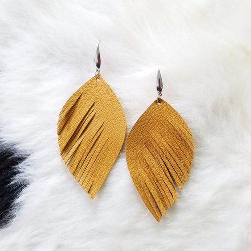 Mustard Large Angel Feather Leather Earrings