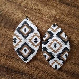 Diamond Aztec Leaf Earrings
