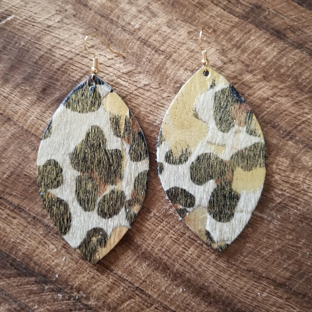 Leopard Acid Wash Leaf Earrings