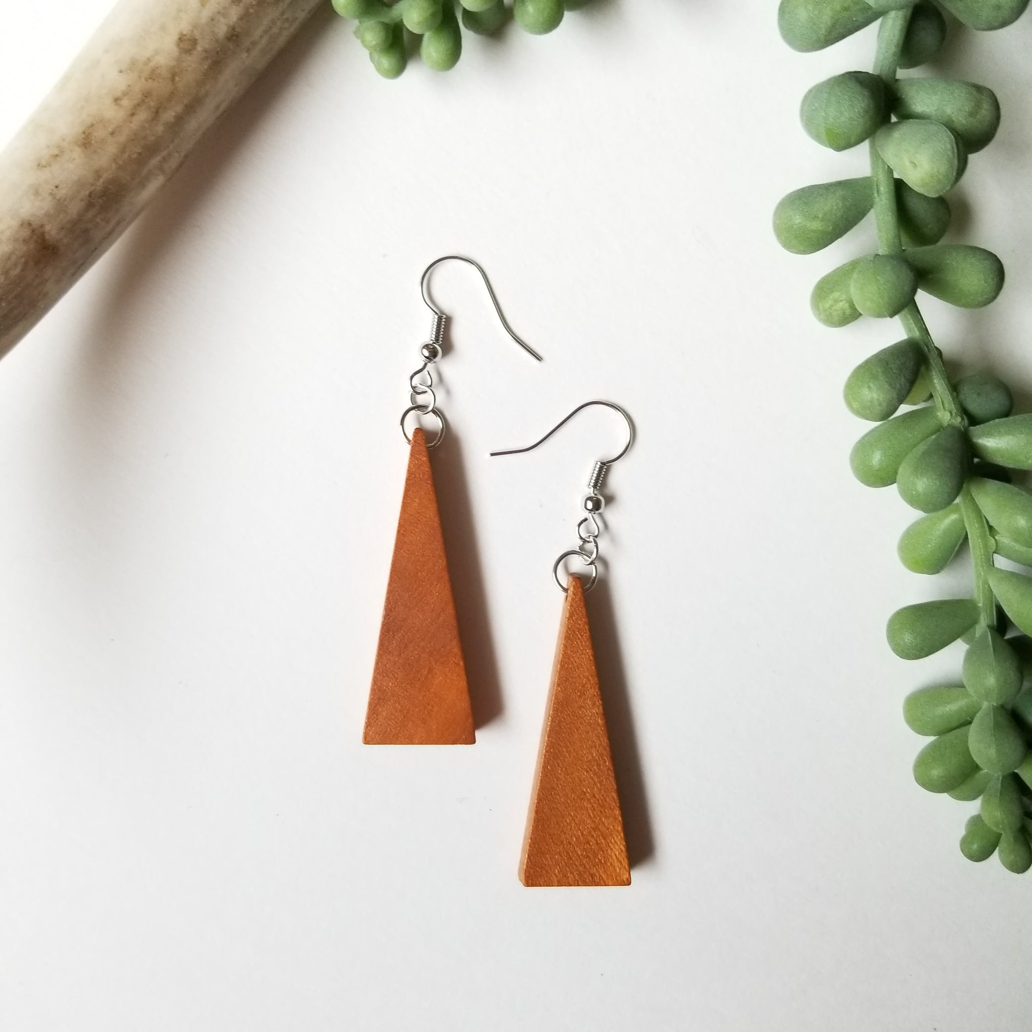 Wood Triangle Earrings