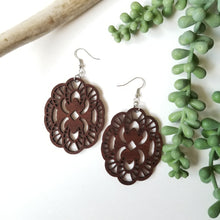 Load image into Gallery viewer, Wood Wildflower Earrings