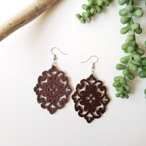Wood Long Flower Earrings
