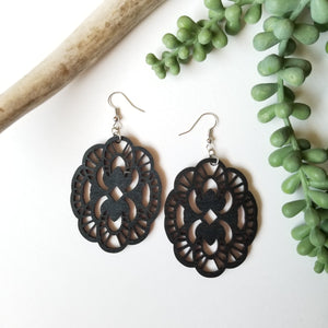 Wood Wildflower Earrings