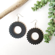 Load image into Gallery viewer, Wood Sunflower Earrings