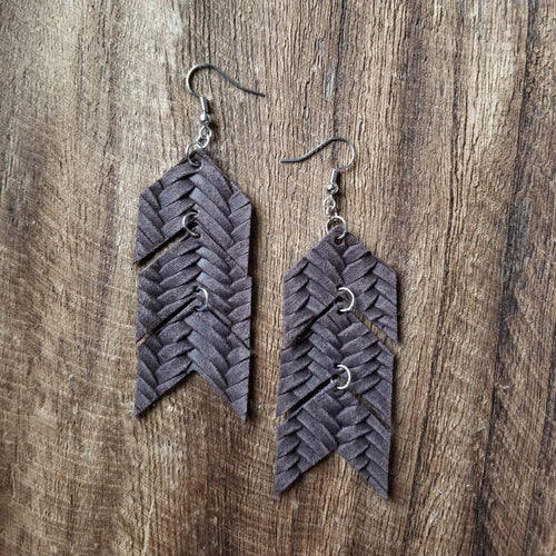 Chocolate Braided Chevron Earrings