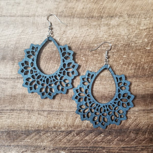 Wood Floral Teardrop Earring