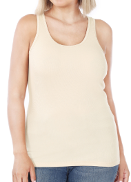 Plus Size Ribbed Cotton Tanks - Neutrals