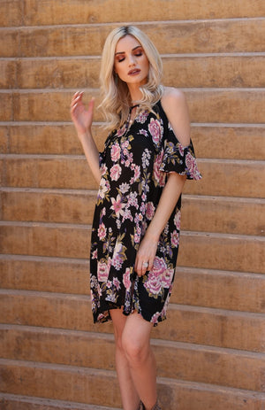 High Neck Cold Shoulder Ruffle Dress