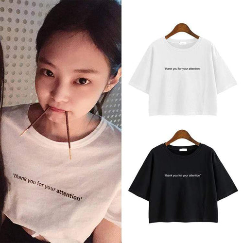 Blackpink JENNIE Exposed Navel T-shirt